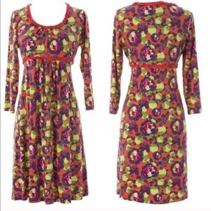 Boden Floral Ruffle Scoop Neck Dress Purple Coral